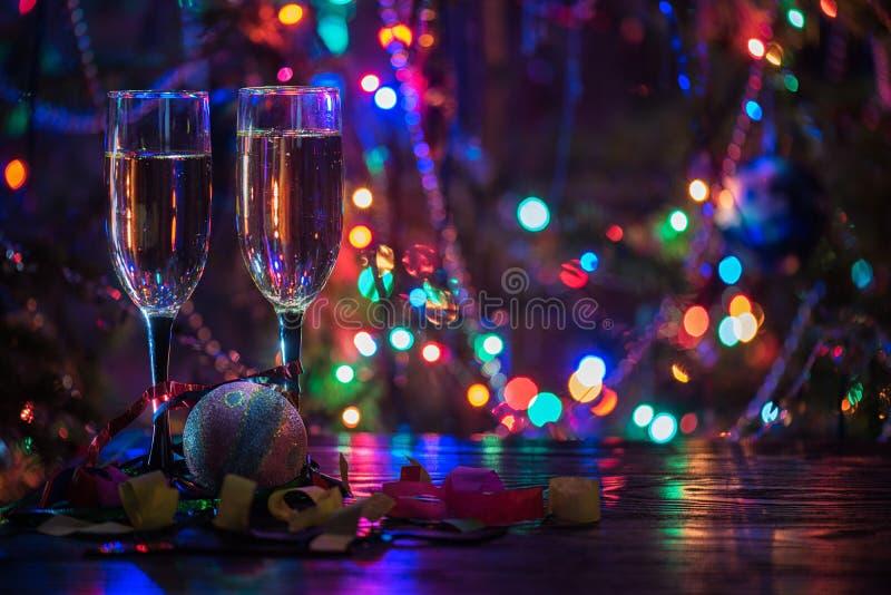 Dos vidrios del shampagne imágenes de archivo libres de regalías