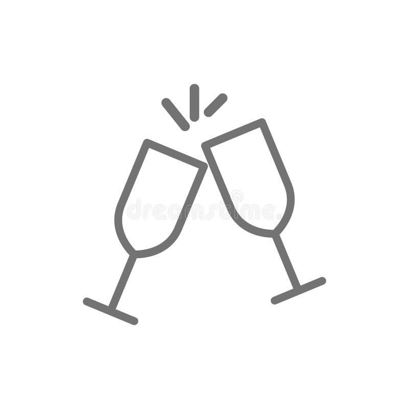 Dos vidrios tintinean la línea icono libre illustration