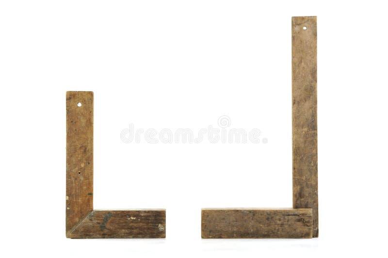 Dos viejos cuadrados del carpintero imágenes de archivo libres de regalías