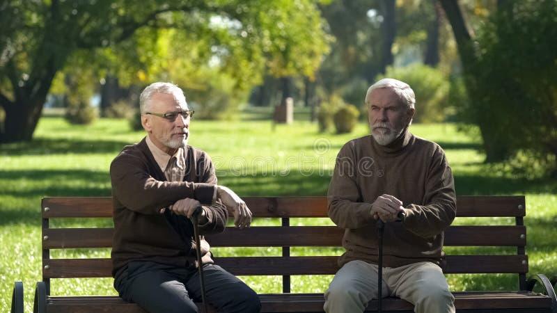 Dos viejos hombres con los bastones que se sientan en banco en parque y que piensan en vida fotografía de archivo libre de regalías
