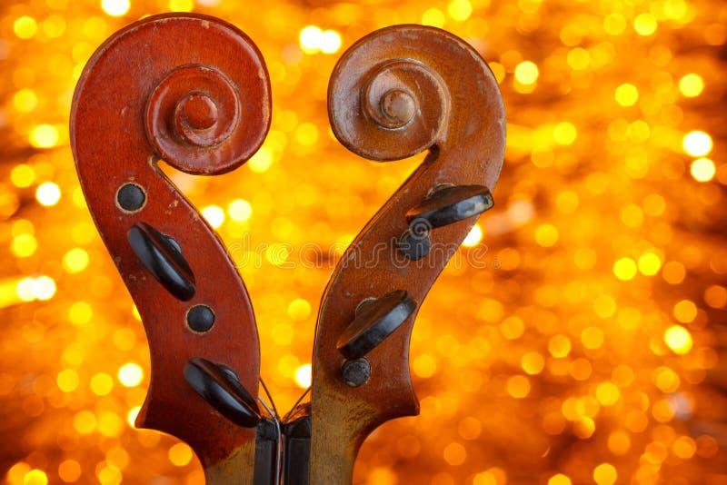 Dos volutas del violín del vintage fotos de archivo
