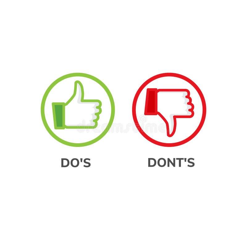 DOS y hacer el control no bueno y malo del icono La lista positiva negativa, mal verdadero como anf falla el logotipo stock de ilustración