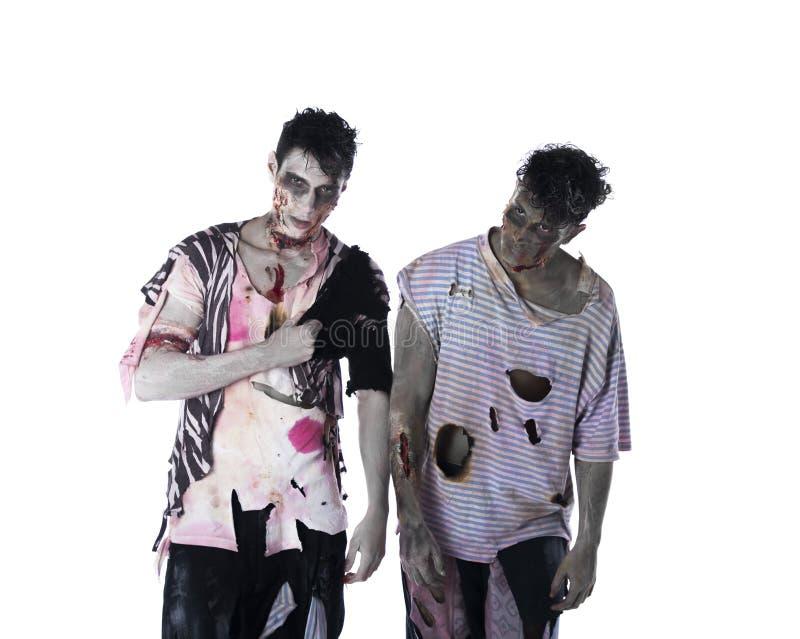 Dos zombis masculinos que se colocan aislados en el fondo blanco imagen de archivo libre de regalías