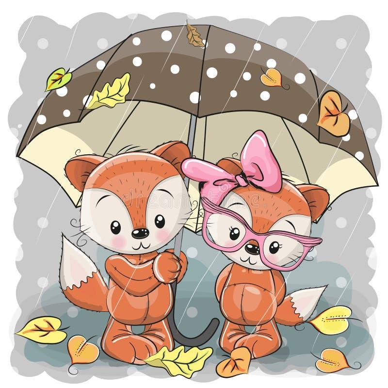Dos zorros lindos de la historieta con el paraguas ilustración del vector