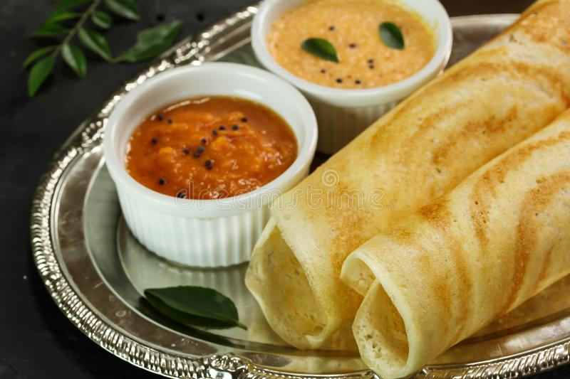 Dosa with chutney, south Indian breakfast royalty free stock photos