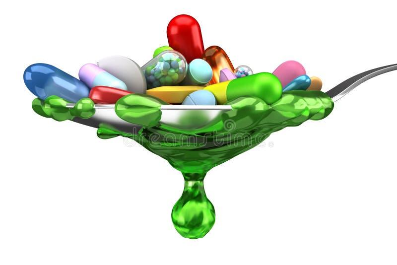 Dose delle pillole variopinte e della medicina in cucchiaio illustrazione di stock