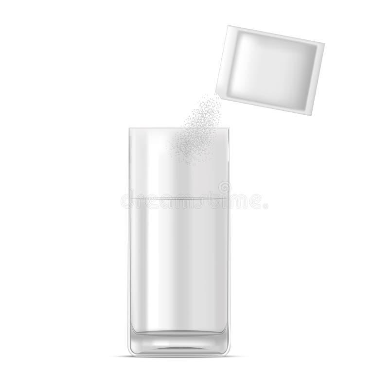 Dose realistica della medicina e del bicchiere d'acqua di polvere Vettore illustrazione vettoriale