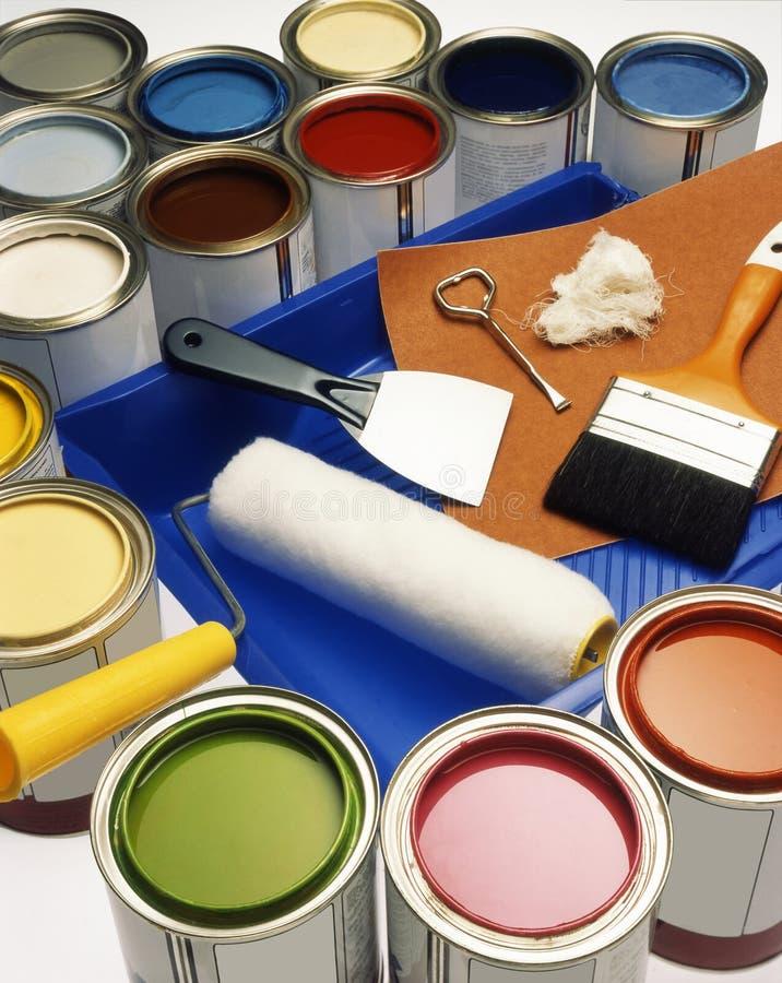 Dosen, Farben, Lack lizenzfreies stockfoto