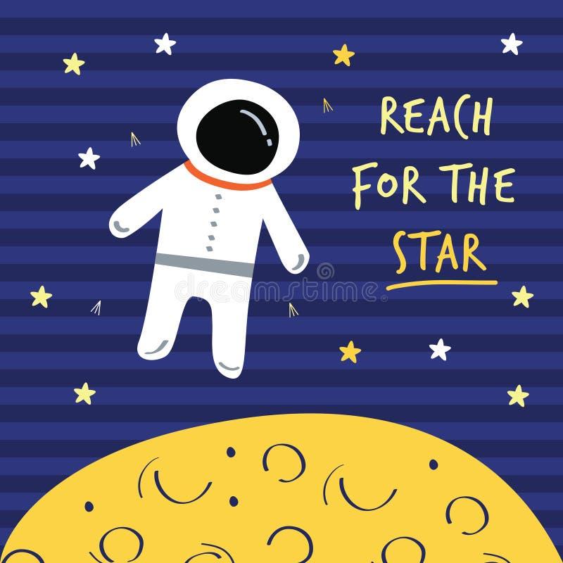 Dosięga dla gwiazd astronauta, księżyc druk ilustracji