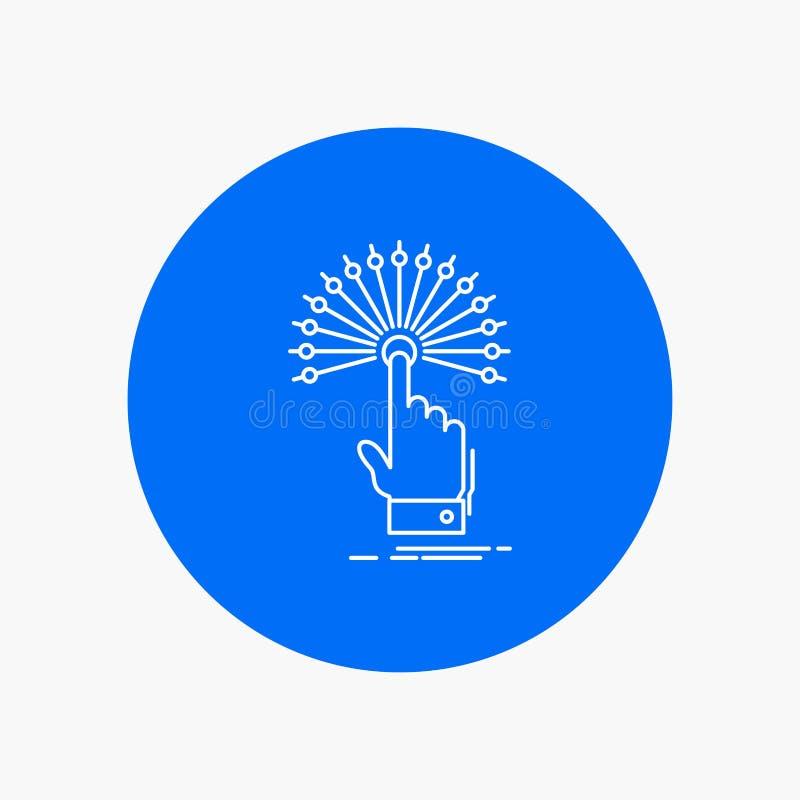 dosięga, Dotyka, miejsce przeznaczenia, cyfrowa, analityczna Białej linii ikona w okręgu tle, Wektorowa ikony ilustracja ilustracja wektor