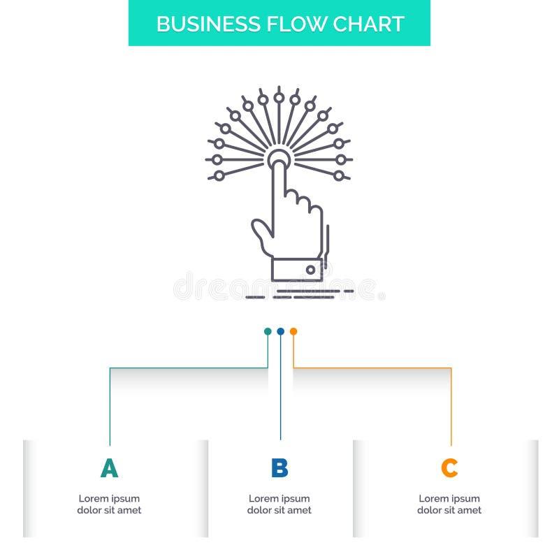 dosięga, Dotyka, miejsce przeznaczenia, cyfrowy, analityczny Biznesowy Spływowej mapy projekt z 3 krokami, Kreskowa ikona Dla pre ilustracja wektor