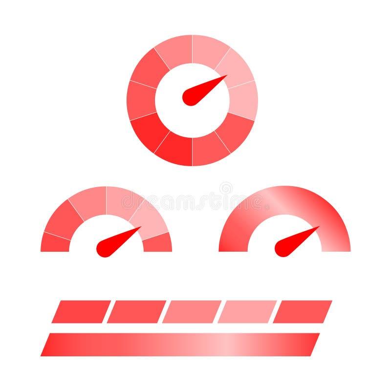 Dosieren Sie Ikonen Symbole von Geschwindigkeitsmessern, Manometer Geschwindigkeitsmesser V lizenzfreie abbildung
