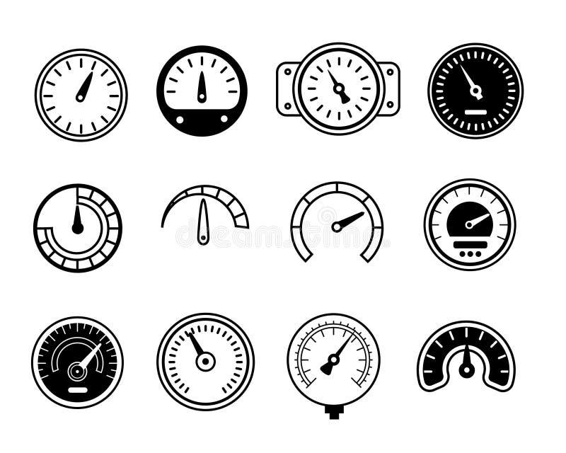 Dosieren Sie Ikonen Symbole von Geschwindigkeitsmessern, von Manometern, von Tachometern usw. Auch im corel abgehobenen Betrag stock abbildung