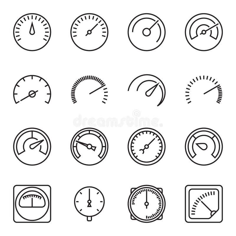 Dosieren Sie Ikonen Symbole von Geschwindigkeitsmessern, von Manometern, von Tachometern, von usw. lizenzfreie abbildung