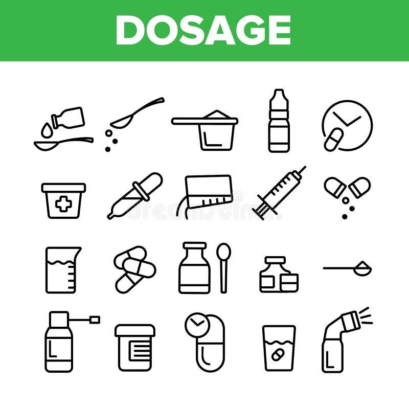 Dosificación, dosificando el sistema linear de los iconos del vector de las drogas ilustración del vector