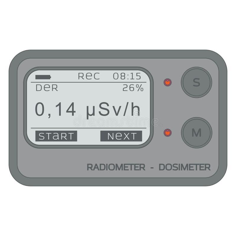 Dosimetro personale di radiazione gamma radiometro illustrazione vettoriale