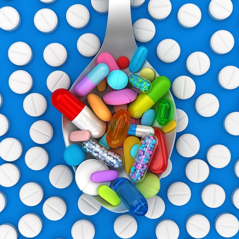 Dosis de píldoras coloridas en cuchara stock de ilustración
