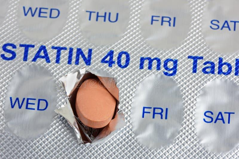 Dosis diaria de la tableta del Statin imagenes de archivo