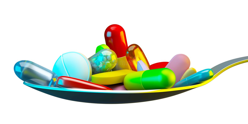 Dosis von bunten Pillen stock abbildung