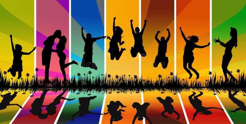doskakiwań młodzi ludzie szczęśliwi ilustracji