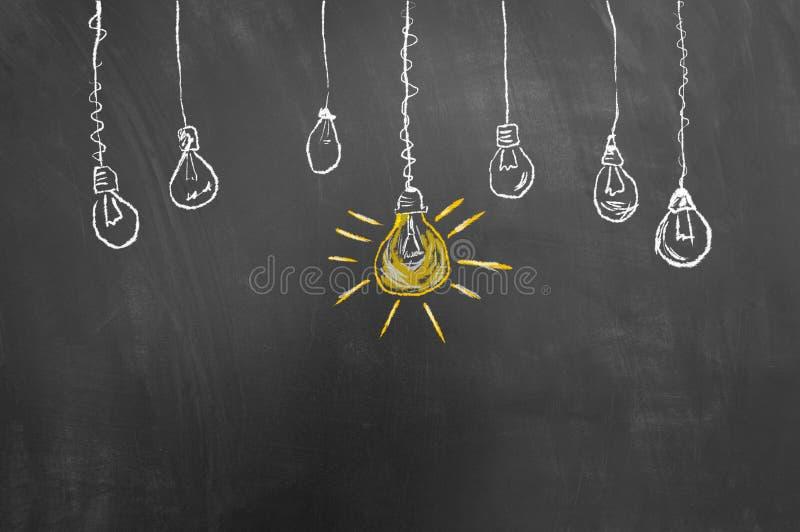Doskonały pomysł żarówki rysunek na blackboard lub chalkboard obrazy royalty free