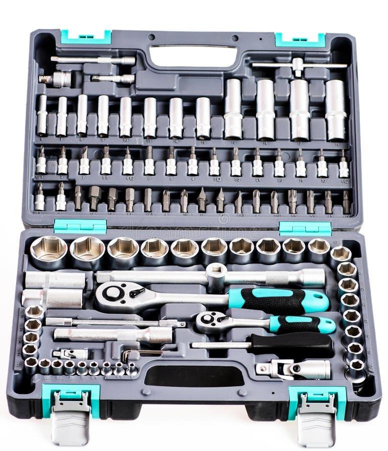 Doskonalić narzędziowy zestaw chromuje matrycować gniazdkowego wyrwanie lub spanner w ścisłej skrzynce pro set narzędzia Torx nar fotografia royalty free