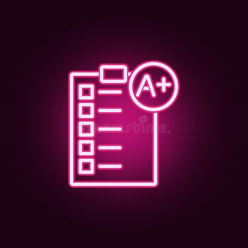 Doskonalić stopień na papierowej próbnej neonowej ikonie Elementy edukacja set Prosta ikona dla stron internetowych, sie? projekt ilustracji