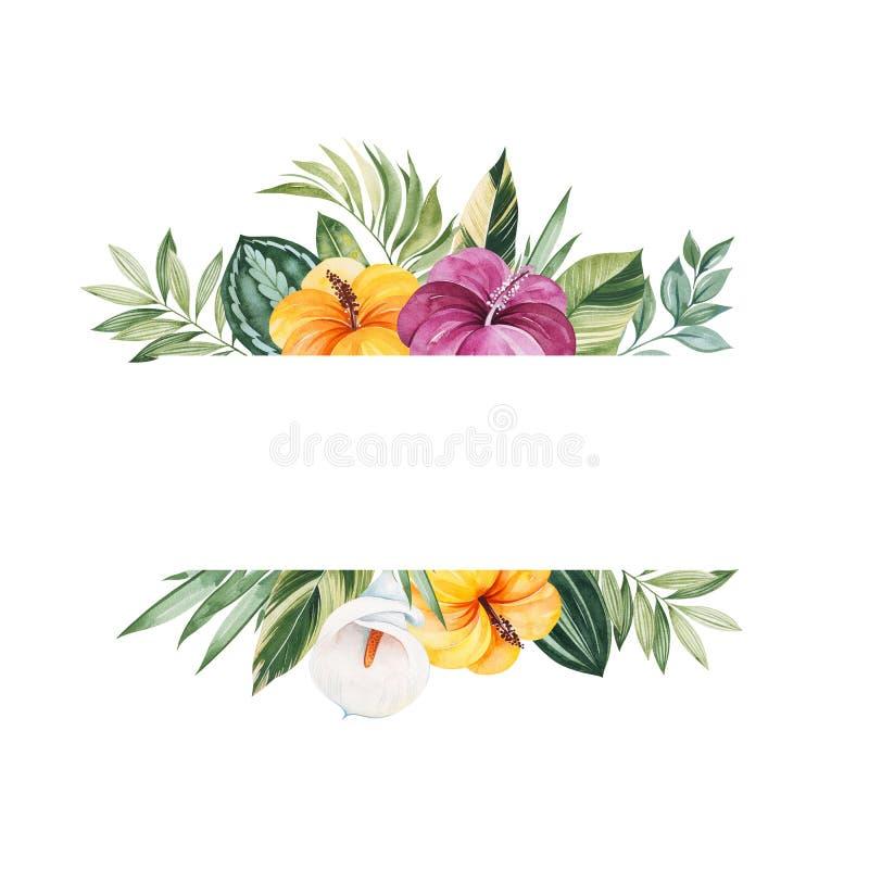 Doskonali? dla Szcz??liwego walentynka dnia Handpainted ilustracja z kolorowymi tropikalnymi li??mi ilustracji