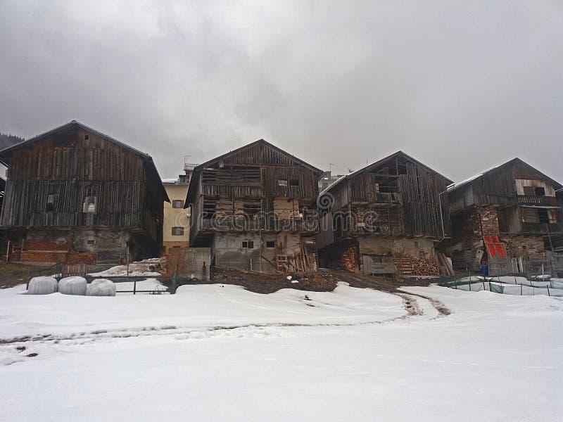 Dosoledo historic barns. Very traditional old barns at dosoledo in italy royalty free stock photos