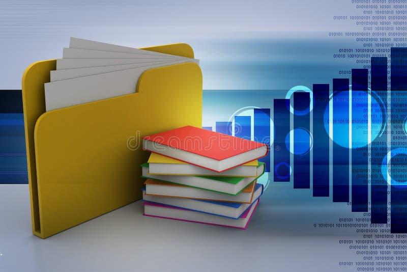 Dossier avec des livres illustration de vecteur