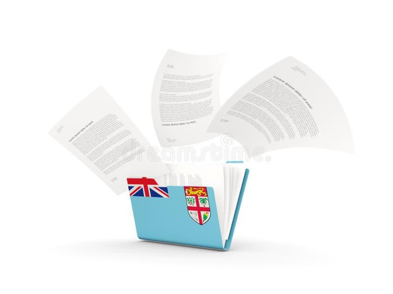 Dossier avec le drapeau du Fiji illustration libre de droits