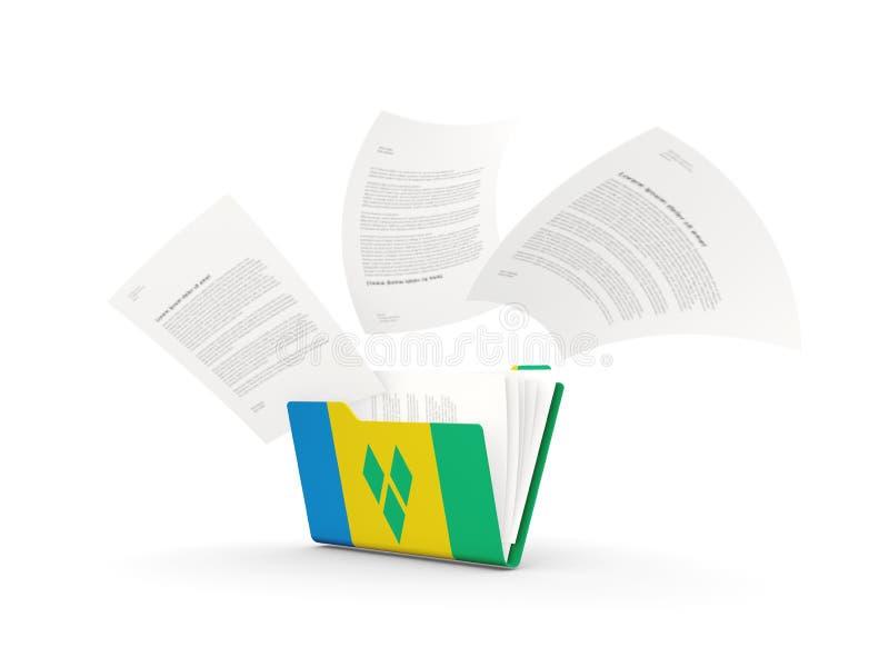 Dossier avec le drapeau du Saint-Vincent-et-les Grenadines illustration de vecteur