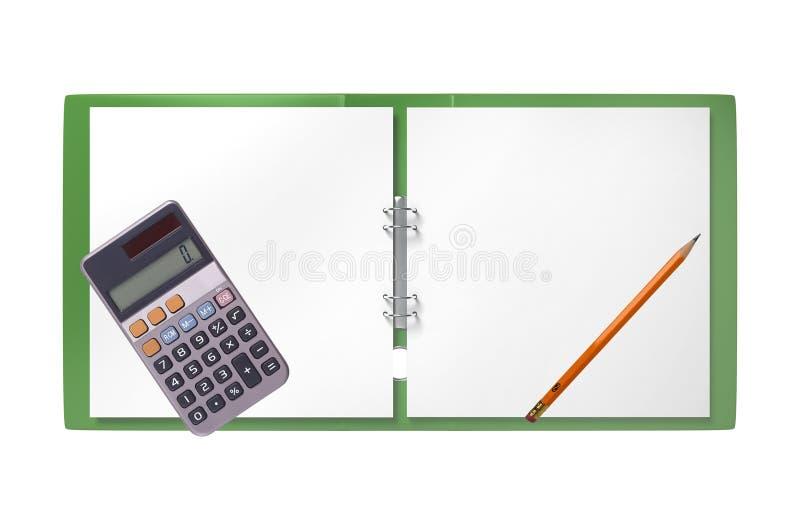 Dossier, calculatrice verte et crayon d'isolement sur le blanc photo stock