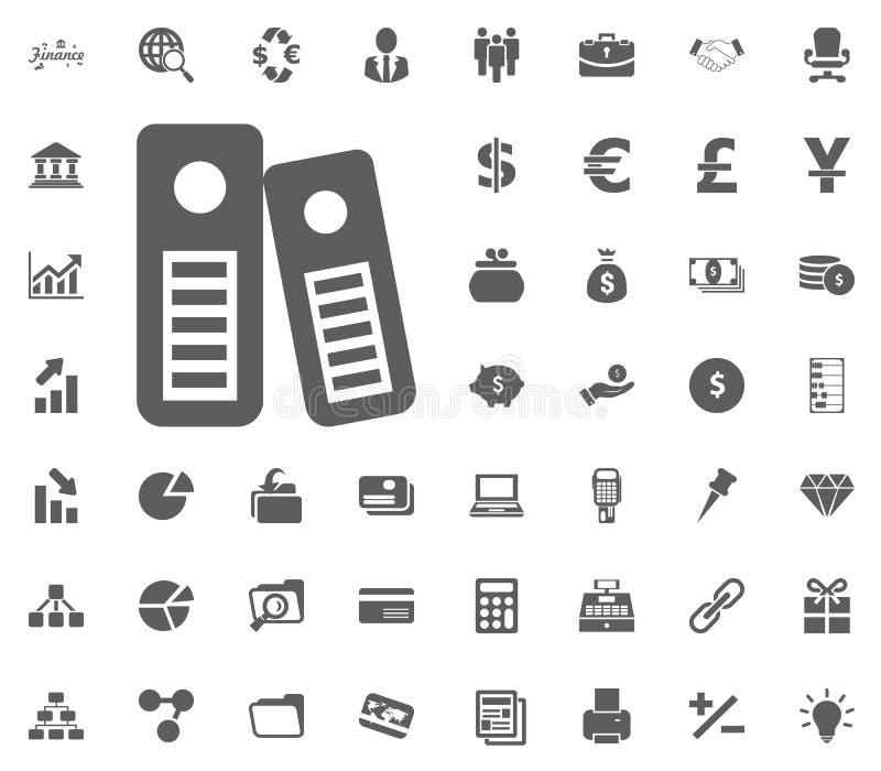 Dossier d'archives documentaires argent et ensemble d'icône de finances, icône illustration stock
