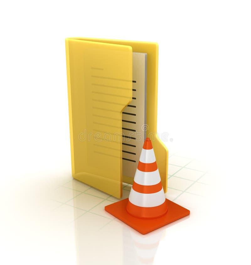Dossier d'ordinateur avec le cône du trafic illustration stock