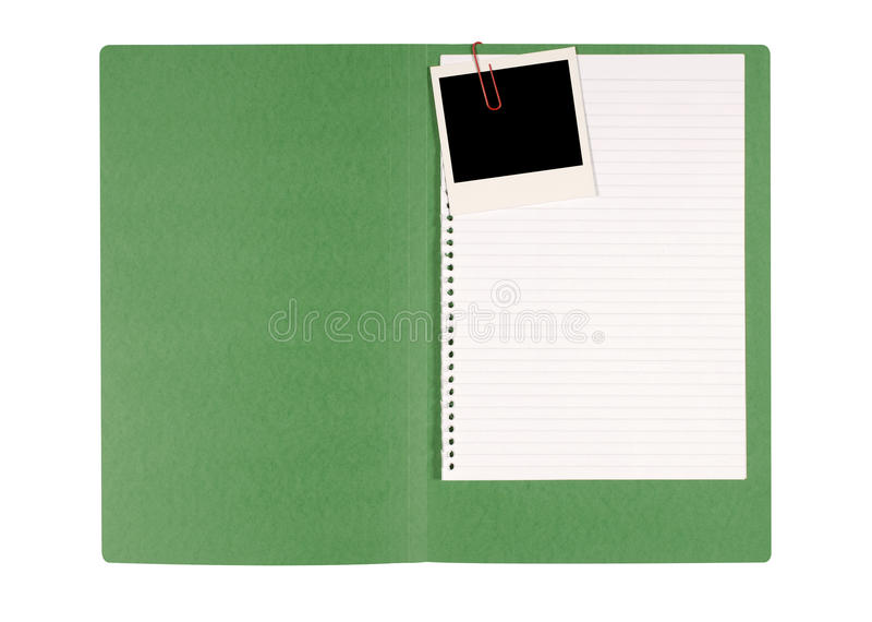 Dossier de bureau avec le papier de note désordonné image libre de droits