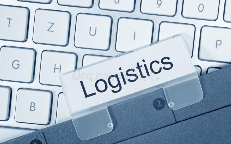 Dossier de logistique sur le clavier d'ordinateur images stock