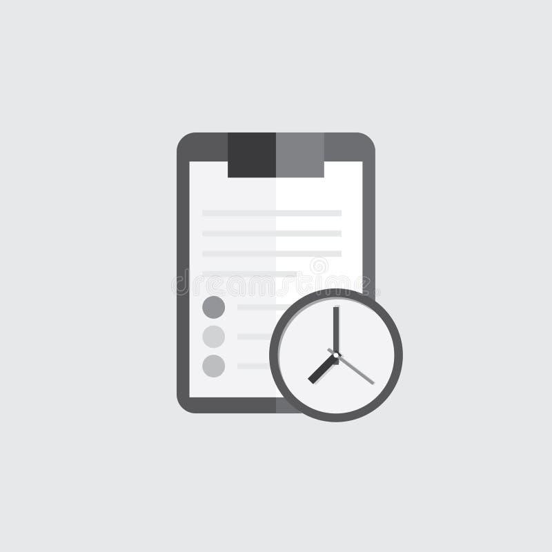 Dossier de presse-papiers avec la feuille de papier blanche vide icône noire et blanche Rappel d'horloge de signe illustration stock