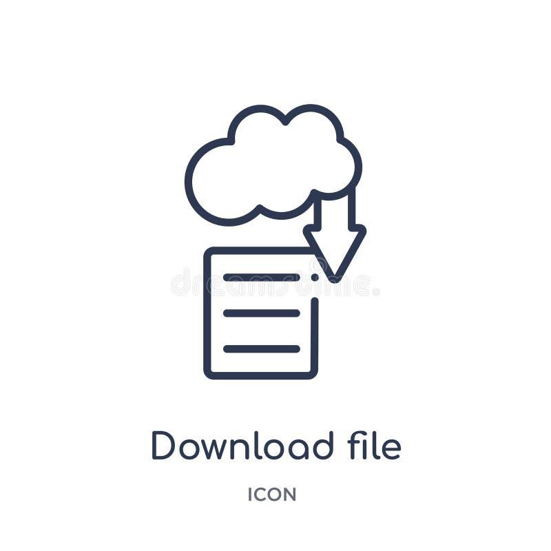 dossier de téléchargement d'icône de nuage d'icône de nuage de collection d'ensemble d'outils et d'ustensiles Ligne mince dossier illustration libre de droits