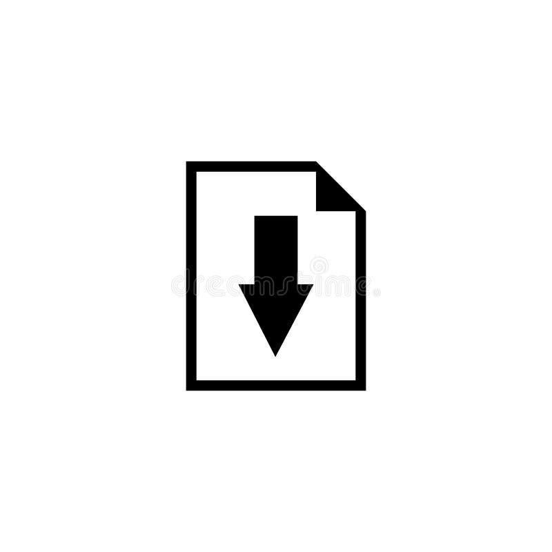 Dossier de téléchargement, document avec l'icône plate de vecteur de flèche illustration de vecteur