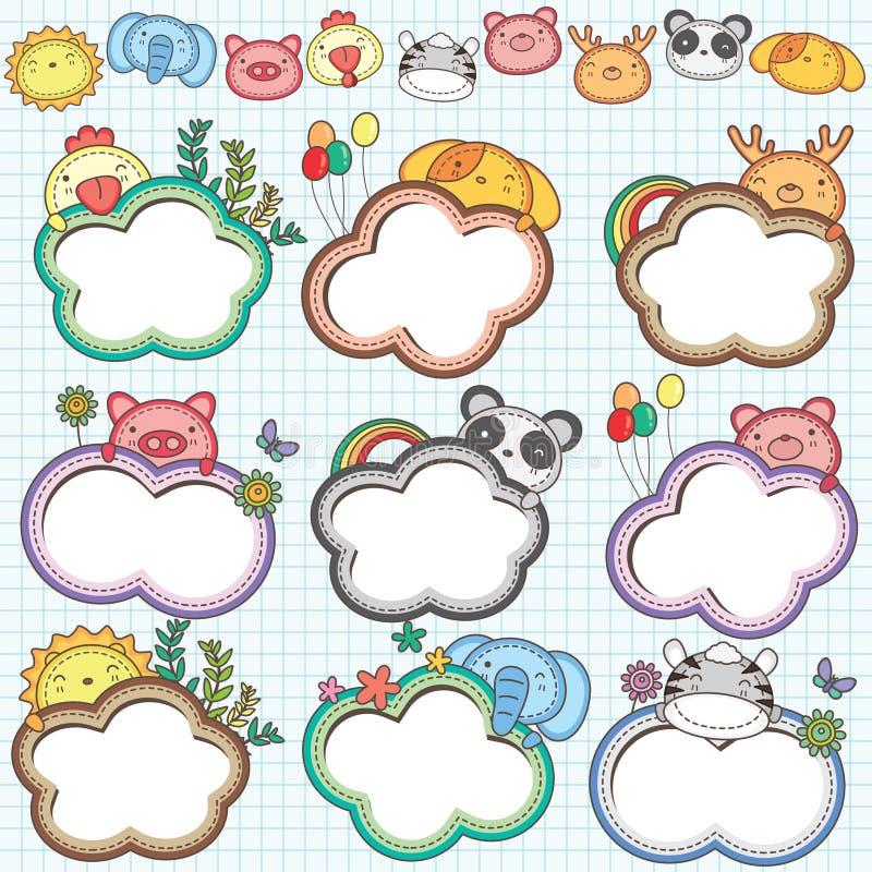Les cadres animaux de nuage ont placé 2 illustration stock
