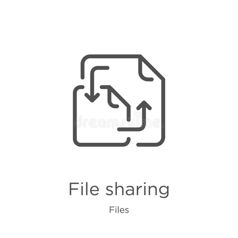 dossier die pictogramvector van dossiersinzameling delen Dun lijndossier die de vectorillustratie van het overzichtspictogram del stock illustratie