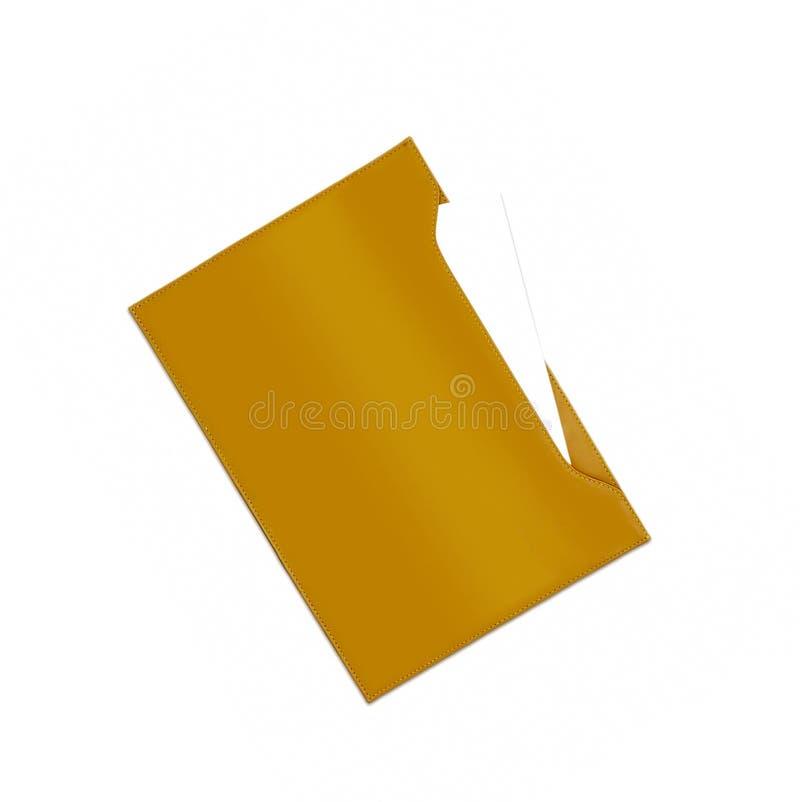 Dossier en cuir d'isolement sur le blanc images stock