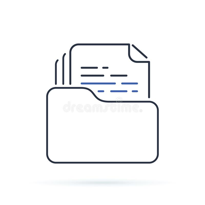 Dossier folder outline icon. linear style sign for mobile concept and web design. The secret files simple line vector icon. stock illustration