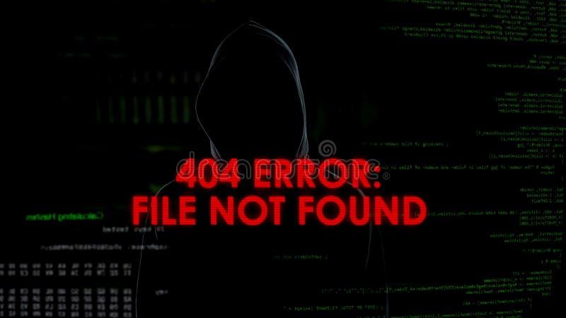 Dossier gevonden niet de foutenuitdrukking, niet succesvolle het binnendringen in een beveiligd computersysteem poging, mannelijk stock foto's