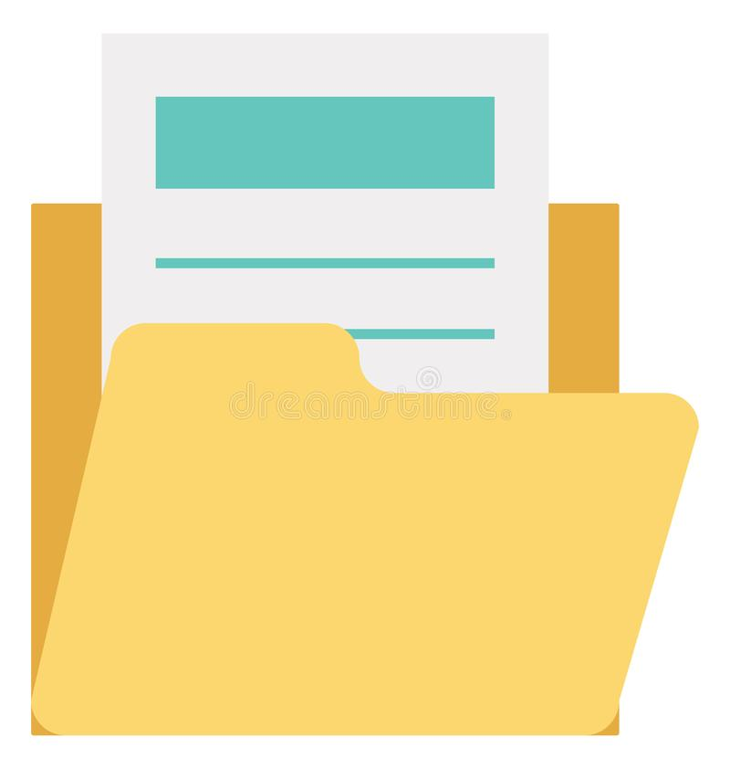 Dossier, icône de vecteur de dossier de données editable illustration libre de droits