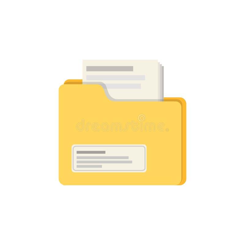 Dossier jaune de couleur avec la conception plate d'illustration de vecteur d'icône de dossiers D'isolement sur le fond blanc bla illustration libre de droits