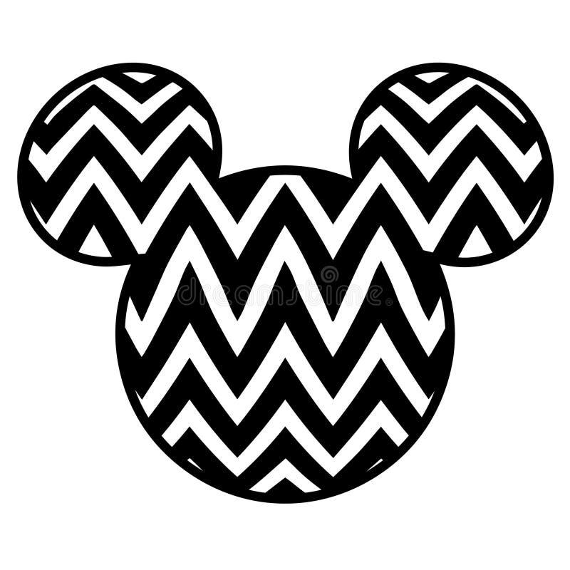 Dossier noir et blanc de coupe d'image de vecteur de tête de Mickey Mouse illustration stock