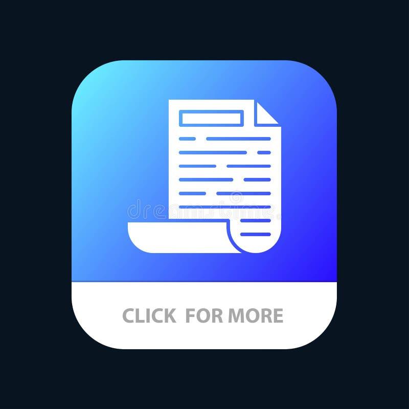 Dossier, Ontwerp, de Knoop van de Documentmobiele toepassing Android en IOS Glyph Versie stock illustratie