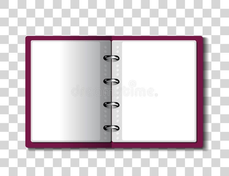 Dossier rouge de reliure à anneaux sur le fond à carreaux illustration stock